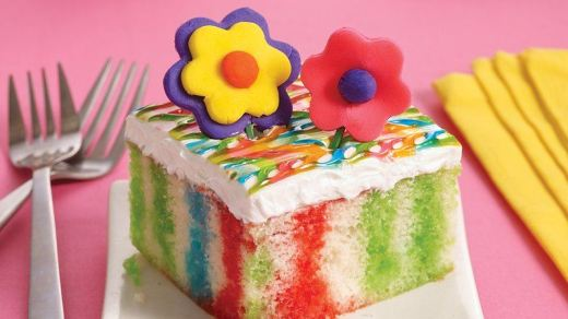 Jello Tie Dye Poke Cake